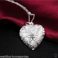 Silver Plated Hollow Heart Locket Openable Pendant Necklace With Chain