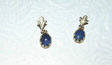 10kt SOLID YELLOW GOLD STUD EAR RINGS W/LAPIS (SEE DISCRIPTION) (118)