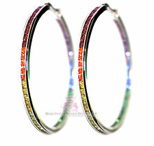 "Women Gods Promise 2"" Hoop Rainbow Cubic Zirconia Glam Earrings Silver Gala"