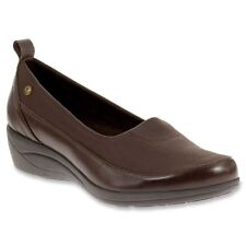 Womens Sz 8.5 WIDE Hush Puppies Valoia Oleena Brown Leather Comfort Dress Shoes