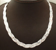 "17"" Reversible Triple Woven Herringbone Chain Necklace Real Sterling Silver 925"