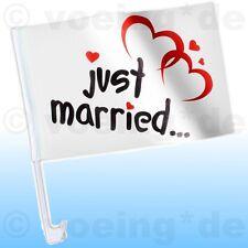 4x Autofahne Just Married Motiv: Klassik Auto Fahne Flagge Hochzeit Justmarried