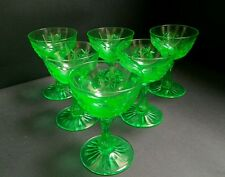 Set of Six High Quality Green Uranium Glass Champagnes c.1870
