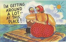 1930s-50s Linen Risque & Comic PC- Big Woman- Little Man- Swimsuit- Big Butt