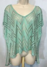 Coveted Clothing Size L Large Mint Green Sheer Chevron Blouse Hi Low