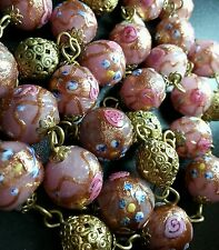 "VINTAGE ANTIQUE VENETIAN WEDDING CAKE FOIL ART GLASS BEAD 28.5"" NECKLACE"
