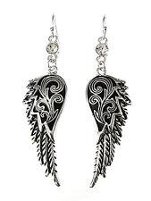 New Angel Wing Silver Tone Rhinestone Earrings Dangle Drop Women Fashion Jewelry