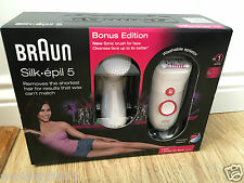 NEW Braun Silk Epil 5 Epilator Bonus Edition & Facial Cleanser Sonic Brush 5-329