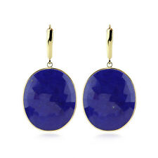 14K Yellow Gold Gemstone Earrings With Blue Lapis Drop