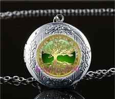 Celtic Gold Tree Of Life Glass Tibet Silver Chain Locket Pendant Necklace#N51