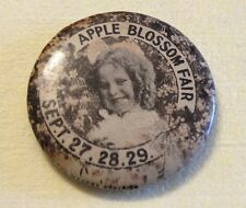 Vintage Tin Badge Pin Back Apple Blossom Fair Sept 27,28,29. Excell 74