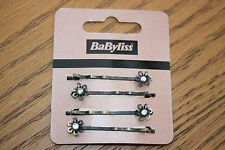 Babyliss 4 Pack of Vintage Style Crystal Diamante DAISY Hair Clips Grips Slides