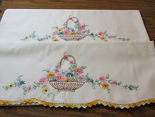 BEAUTIFUL VINTAGE EMBROIDERED BASKETS OF FLOWER / FLORAL PILLOW CASES