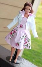 Clothes for Curvy Barbie Doll. Hooded Jacket and pink flower print Dress
