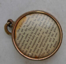 "Antique Rolled Gold Photo Locket Pendant LORD""S PRAYER 2cm A599917"