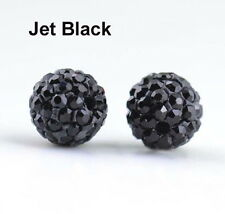 Wholesale 100 Pcs Cz Crystal Shamballa Beads Pave Disco Balls Black Color 10MM