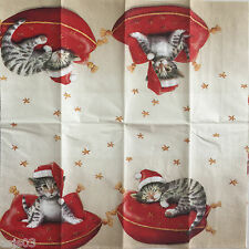 Decoupage Christmas Paper Tissue Santa Cat Kitten Craft set of 3