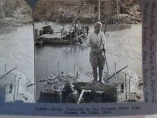 WW1 BRIDGE OVER THE AISNE DESTROYED BY GERMANS IN 1918! KEYSTONE STEREOVIEW CARD