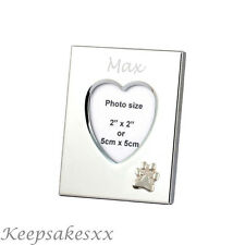 Heart Photo Frame - DOGS PAWPRINT Sterling Silver & personalised engraving