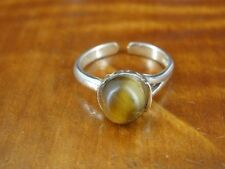 Tiger's Eye Round Bead Stone Sterling Silver 925 TOE RING