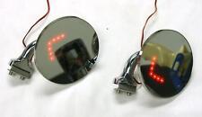 "4"" Universal Round Door Edge Peep Mirrors w/ LED Turn Signal Arrow PAIR Hot Rod"