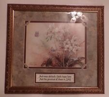 Carpentree framed picture-Flowers & butterflies-Lena Lili- Faith,Love,Hope 17x19