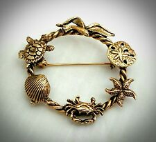 Beautiful Nautical Beach Sea Life Antique Gold Rope Brooch/Pin-Turtle, seashells
