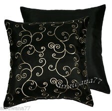 2 Thai Silk Decorative Pillow Cushion Cover Throw FS Black