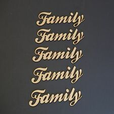 Pack of 5 Wooden Family Words & Numbers Alphabet Name Plaque Script Font