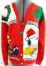 MARISA CHRISTINA-VINTAGE WOMENS CHRISTMAS SWEATER-HAND KNIT-BUTTON-SNOOPY-LARGE