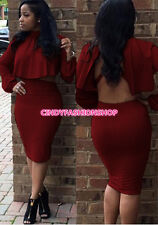 New Women 2PC Outfits Long Sleeve Bandage Sexy Backless Body con Party  Dress