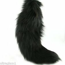 "1pc X-Large DYED BLACK 100% GENUINE FOX TAIL/QUEEN/DRAG/FUR KEYCHAIN ( 14""-17"" )"