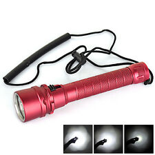 3X XM-L2 LED 6000Lm Scuba Diving 2X 18650 Flashlight Torch Light Underwater 100M