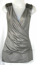 JANE NORMAN (UK8 / EU36) BRONZE CROSSOVER-FRONT TOP WITH SHOULDER DETAILING