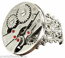 WATCH GEARS RING Silver tone metal Steampunk Victorian Key Costume Accessory