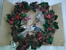New Fiber Optic Woodland Christmas Color Changing Bird Wreath,by Collections Etc