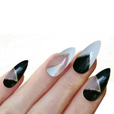 24 STILETTO POINT FALSE NAILS TIPS PATTERN DESIGN NAIL TIP Cake Sailor Tartan