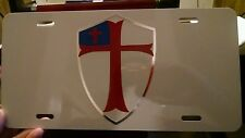 Christian flag shield Knights Templar white car tag license plate