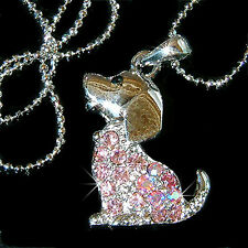 Pink w Swarovski Crystal BEAGLE puppy DOG pet Animal Charm Pendant Necklace CUTE