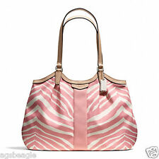 Coach Bag F24022 SIGNATURE STRIPE ZEBRA PRINT DEVIN Shoulder Bag Pink Agsb COD