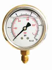 Hydraulic Pressure Gauge Glycerine Filled 0/15 PSI & 0/1 Bar 63mm Dial 1/4 BSP