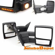 Pair Power Heated Towing Mirrors w/Signal + Puddle Light Fit Ford F150 2007-2014