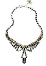 FOSSIL Brand Vintage Granny Hematite Crystal Cupchain Brass Ox-Tone Necklace $85