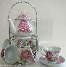 13 PC SET PORCELAIN PINK ROSE FLOWER TEA,COFFEE POT,TEAPOT+MUG,CUP+SAUCER,PLATE