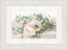 Still Life with Peonies (Linen) :  Lanarte Counted Cross Stitch Kit - PN0147588