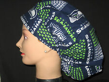 Surgical Scrub Hats/Caps NFL Seattle Seahawks Navy Blue w/ Helmets and Logos