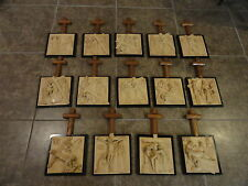 STATIONS OF THE CROSS ~ Complete Set ~ Alabaster on Marble ~ Bianchi, Italy