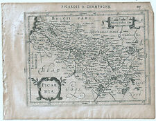 Carte ancienne MERCATOR HONDIUS map 1630 PICARDIE CHAMPAGNE Amiens Péronne 215