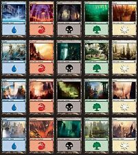 *MRM* FR/ENG 100 Terrains de base Basic land 20 each color MTG pack