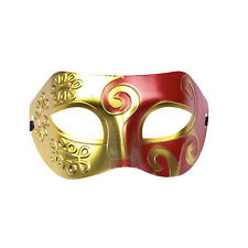 Mens Roman Warrior Two Tone Masquerade Ball Prom Halloween Mask. Red / Gold